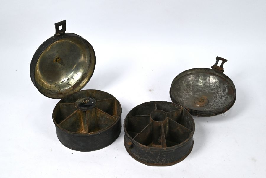 Two early 19th century japanned tin spice boxes