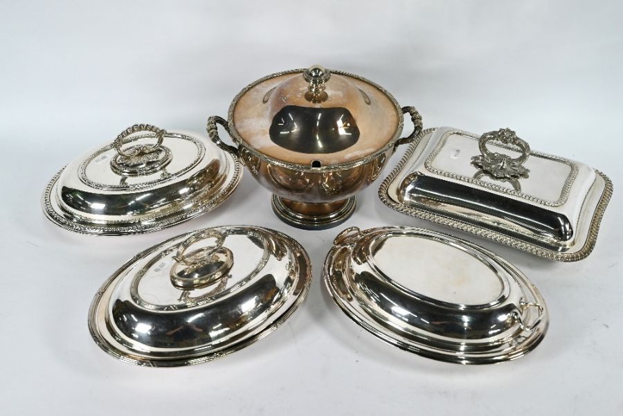 Electroplated soup tureen and four entrée dishes and covers