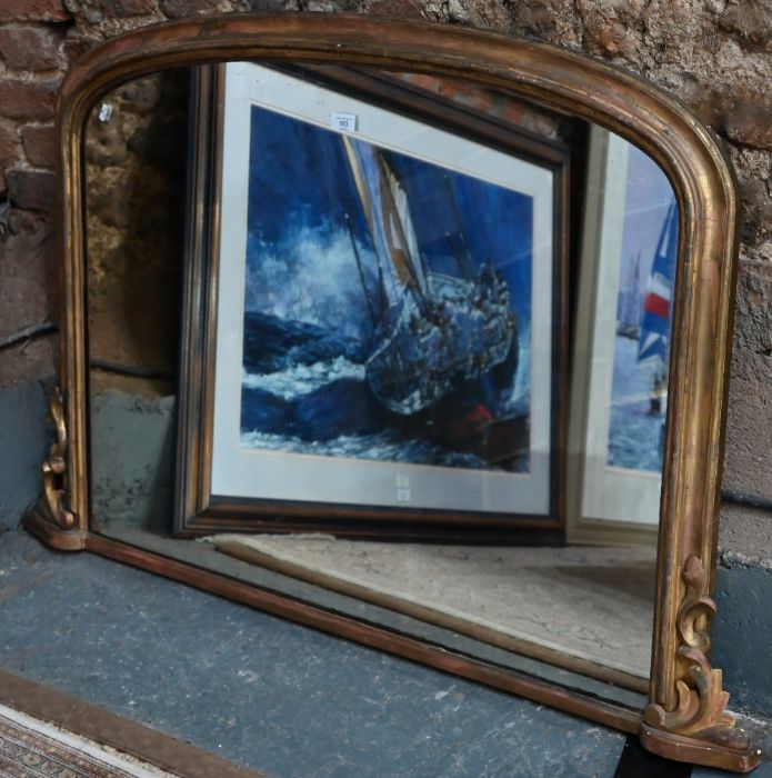 A Victorian arched giltwood framed overmantel - Image 2 of 5