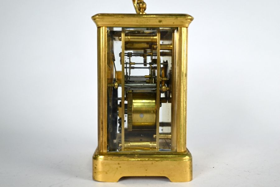 An antique brass two train 8-day carriage clock - Image 3 of 5