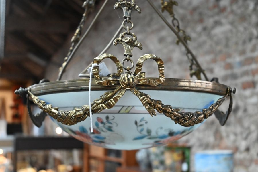 A hand painted French frosted glass brass mounted swag ceiling light - Image 3 of 4