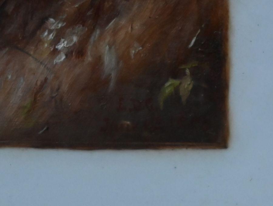 LDG landscape with children - oil on card - Image 3 of 6