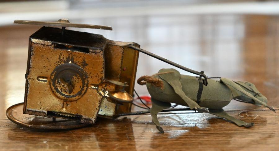 An antique German Lehman clockwork tinplate donkey-cart with clown - Image 3 of 3
