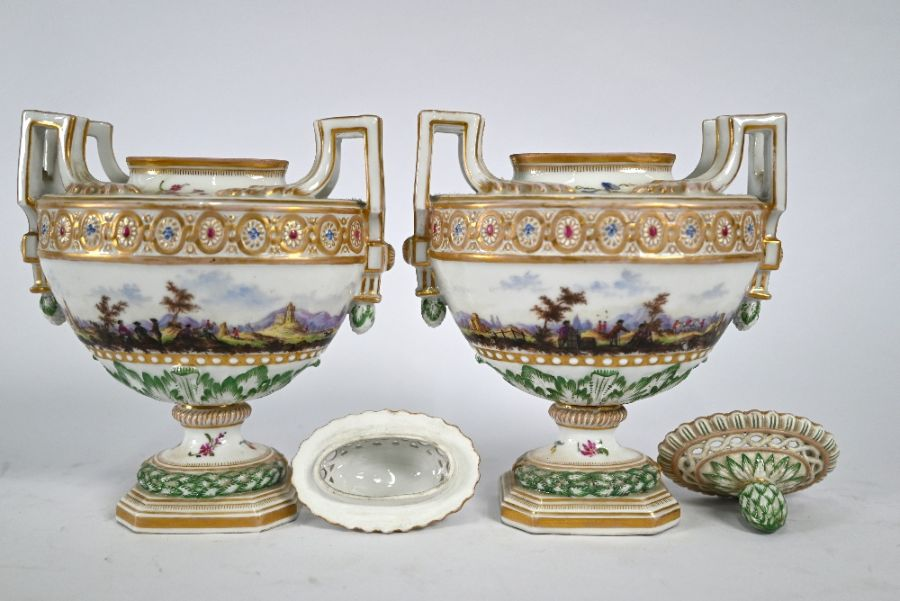 A pair of 19th century Meissen oval urns and covers - Image 3 of 4