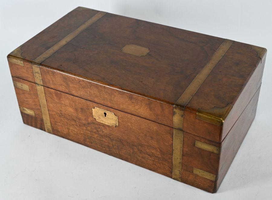 A 19th century brass bound mahogany campaign style writing slope