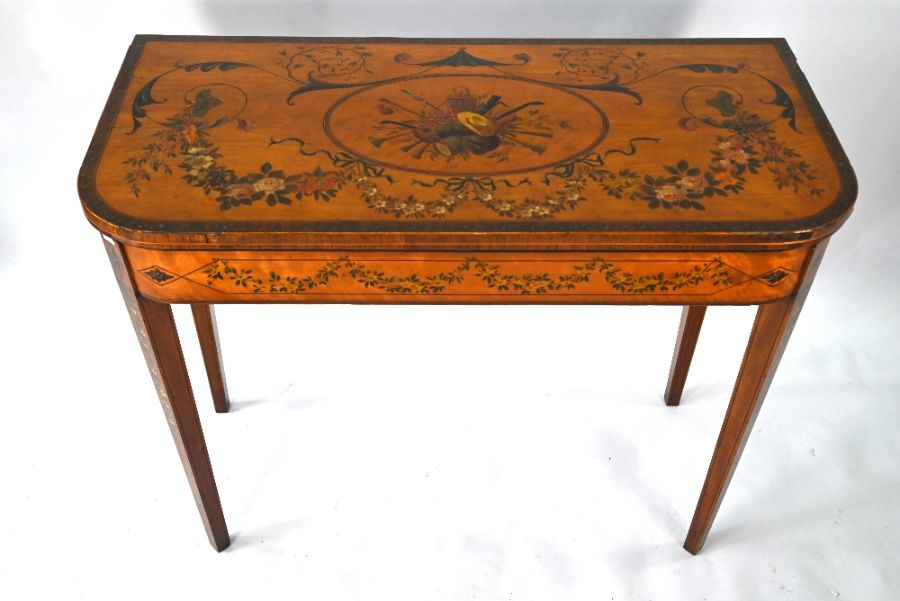 A 19th century polychrome decorated satinwood card table in the Sheraton style - Image 3 of 17