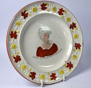A Georgian creamware commemorative plate