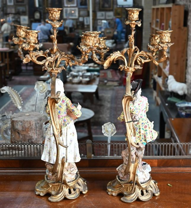 A companion pair of French ormolu mounted candelabra - Image 8 of 8