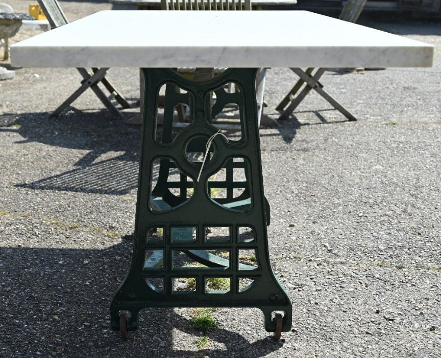 A solid marble top garden table on green painted cast iron base - Image 2 of 4
