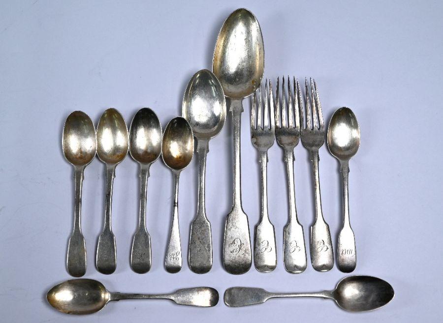 Various Victorian silver flatware