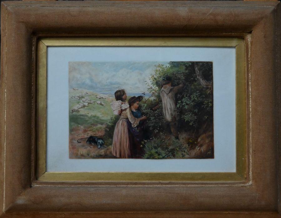 LDG landscape with children - oil on card - Image 2 of 6