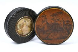 An 18th century Continental tortoiseshell-lined papier-mache circular snuff-box