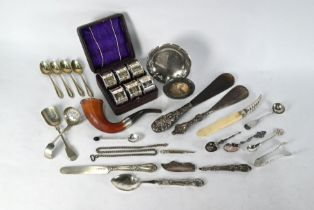 Oddments of Victorian and later silver and plate, etc.
