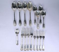 Silver part set of fiddle, thread and shell flatware