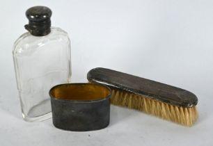 Silver-mounted hip flask & hairbrush