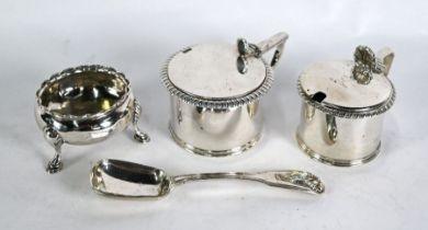 Georgian silver mustard pots, open salt & preserve spoon