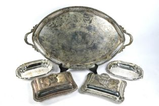 Large electroplated tray and three entrée dishes