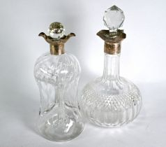 Two silver-mounted decanters