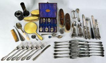 Child's silver and enamel brush set, etc.