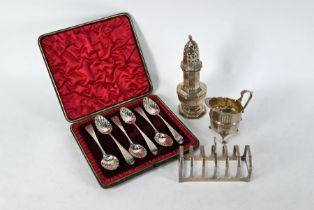 Silver teaspoons, toast-rack, caster and jug