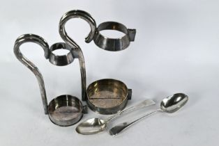 Pair of George III silver spoons and two electroplated bottle-holders