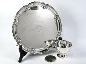 Silver bowl, compact and ep salver