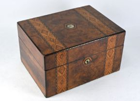 Victorian walnut toilet case with electroplated fittings
