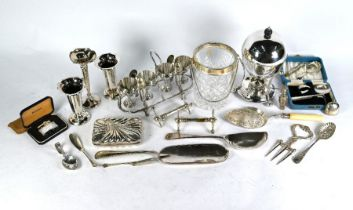 Three loaded silver flute vases and various ep wares