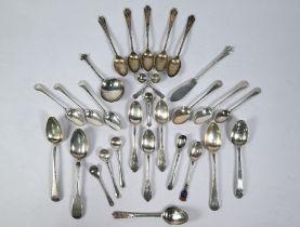 Various Georgian and later teaspoons, etc.