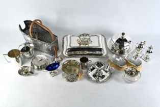 Pair of silver-backed hairbrushes and various ep wares