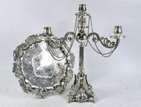Victorian ep candelabrum and salver