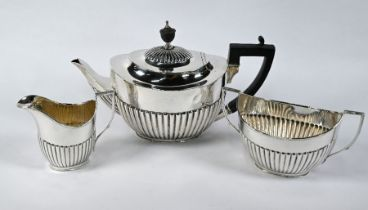 Late Victorian silver three-piece tea service