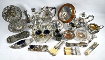 Old Sheffiled plate tea service, snuffers trays and other plated items