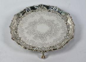Victorian silver letter salver