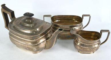 Silver three-piece tea service
