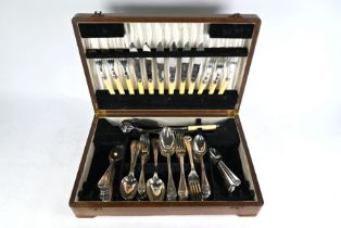 Antique electroplated reed flatware, etc.