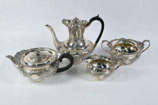 Victorian silver four-piece tea/coffee set in the Regency manner