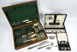 Oak canteen with ep cutlery to/w silver teaspoons and other plated wares