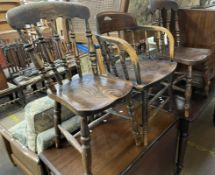 A pair of 19th century kitchen chairs together with a smokers bow elbow chair