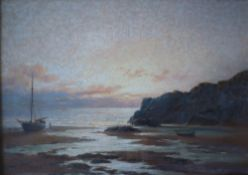 William J King Evening on the Gower Oil on canvas Signed and dated 1938 Label verso 24 x 34cm