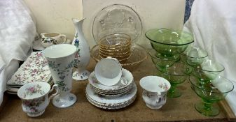 A Coalport vase together with a Royal Albert Moss Rose pattern part tea set, pottery plates,