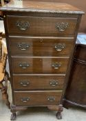 A 20th century mahogany pedestal chest,
