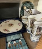 A Royal Worcester porcelain cake plate together with mugs,