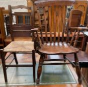 A slat back kitchen chair together with a bedroom,