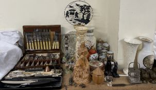 A cased antler handled carving set together with cased flatware, candelabra, resin figures,