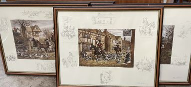 A set of four Soloman and Whitehead hunting prints together with a black and white print of Jenny