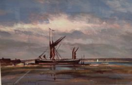 Andrew King Boats at low tide Acrylics Signed and dated '86