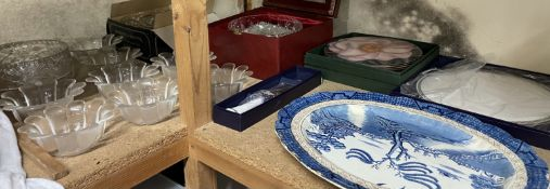 A blue and white pottery meat plate together with glass dishes, Royal Worcester cake plate,