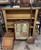 A 20th century oak bookcase together with a walnut coal purdonium,