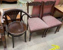 A bentwood chair together with a pair of salon chairs